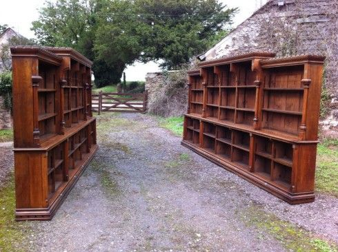 a pair of 19th century gothic oak bookcases