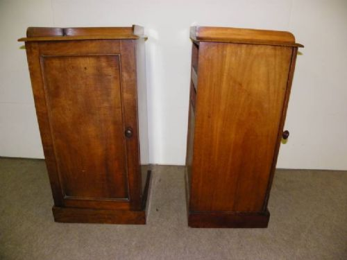 a pair of 19th century mahogany bedside cupboards