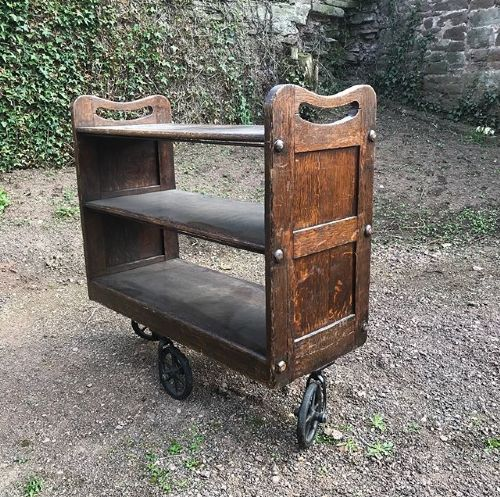 oak library bookcase trolley