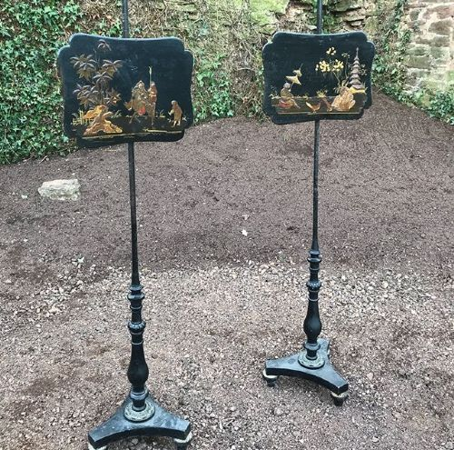pair of regency chinoiserie pole stands