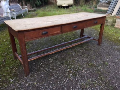 19th c pine refectory table