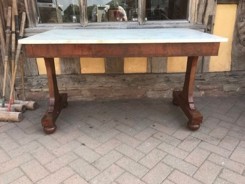 19thc freestanding 3 drawer mahogany table with marble top stamped gillows