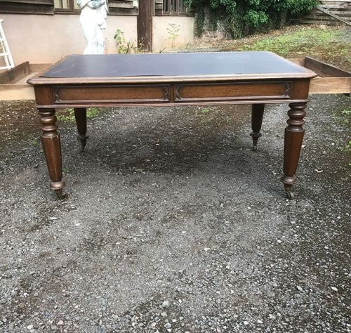 19thc oak gothic library table with twoend drawers