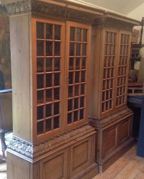 pair of 20thc pine pepysian style bookcases