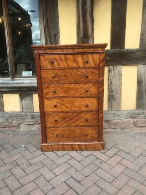 19thc six drawer birch wood wellington chest