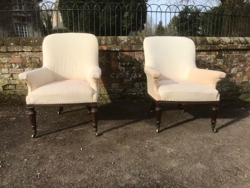 19thc pair of mahogany library armchairs