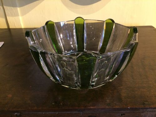 20thc crystal bowl with green overlay