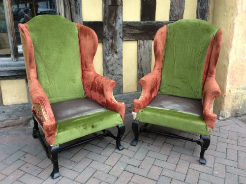 19thc george i style pair of wing armchairs for upholstery