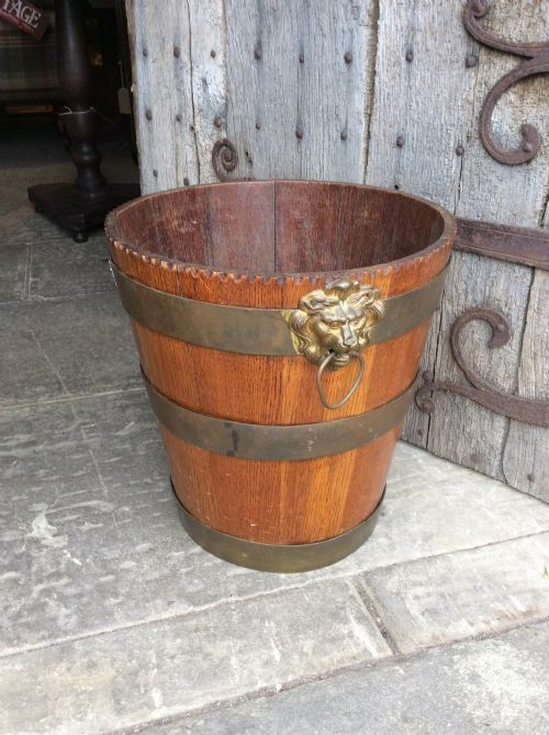 19thc oak brass bound bucket