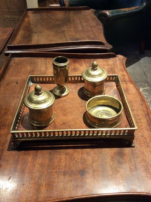 19thc brass and mahogany desk tidy