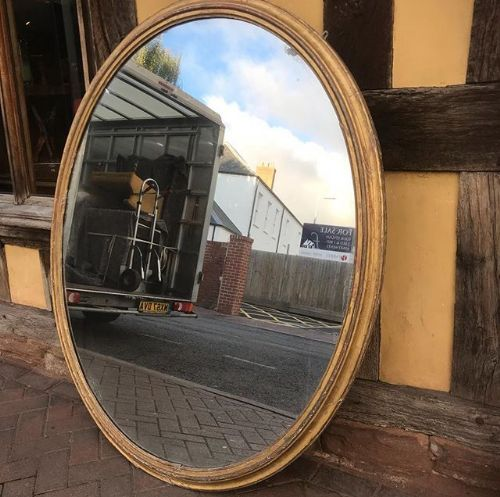 19thc gilded oval mirror