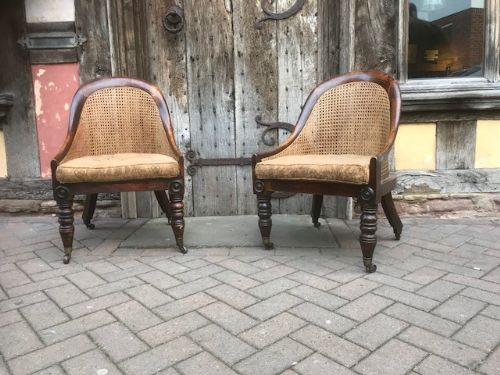 pair of regency cane seated side chairs