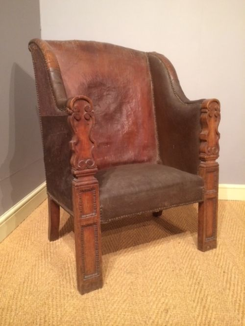 19thc walnut and part leather armchair