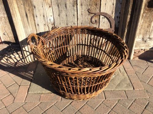 victorian log basket with good colour