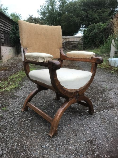 19thc oak x framed armchair by gillows of lancaster