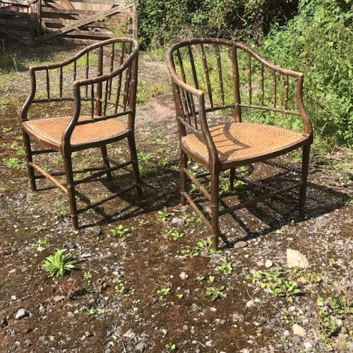 pair of 19thc faux bamboo armchairs