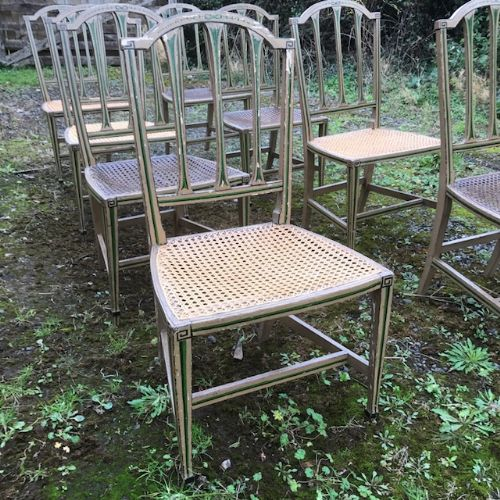 19thc set of 8 decorated chairs