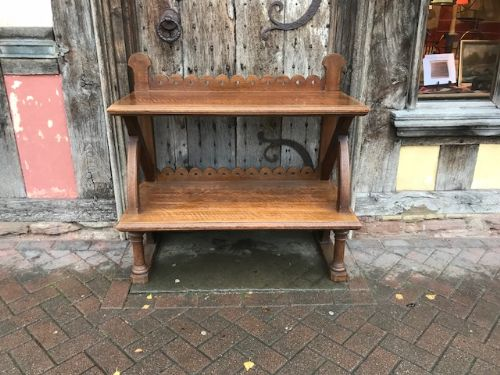 19thc reformed gothic oak 2 tier side table