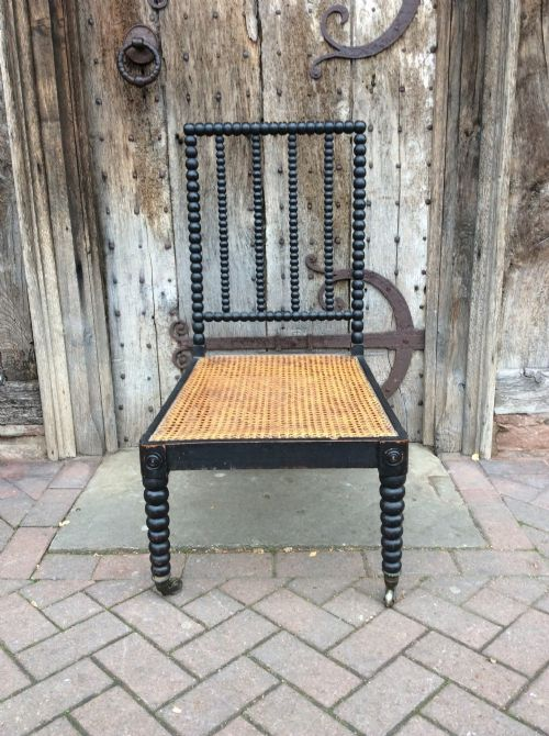 19thc bobbin chair with caned seat