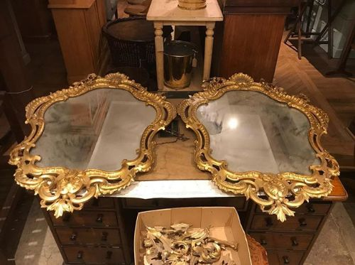 pair of 19thc carved and gilded mirror
