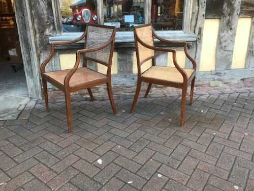 19thc pair of caned decorated chairs
