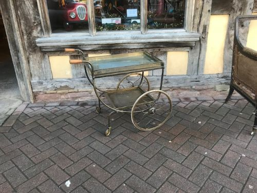 20thc brass drinks trolley