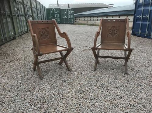 19thc pair of gothic glastonbury oak chairs