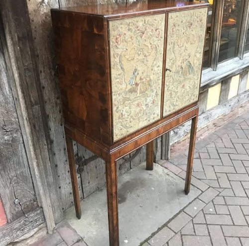 mid 20thc oyster verneer cabinet on stand