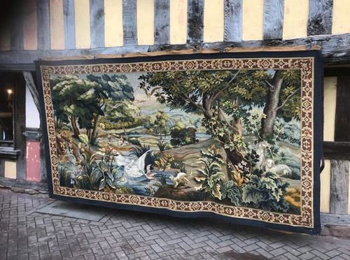late 19thc wool gros points tapestry of landscape with animals