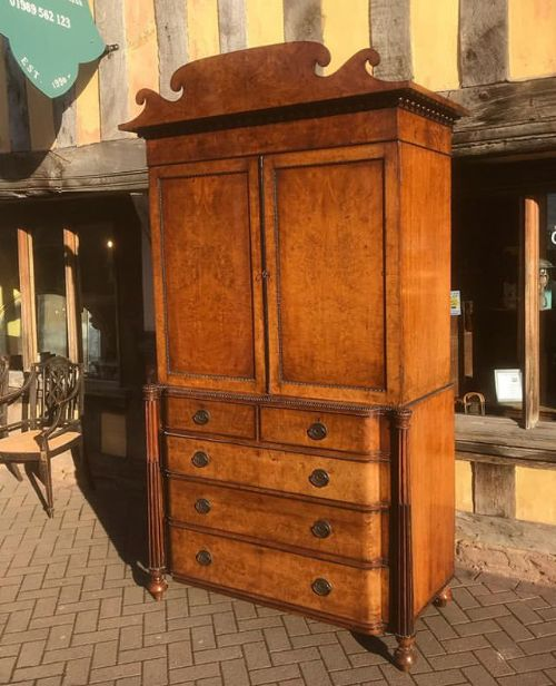 19thc pollard oak ebony linen press on chest