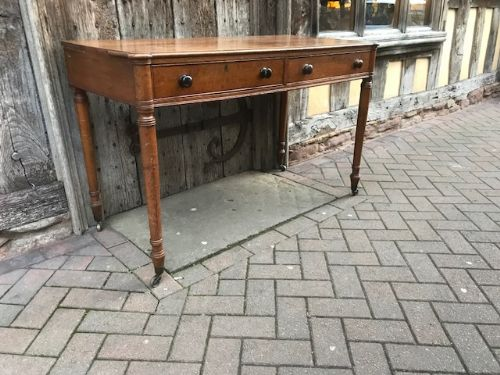 19thc oak two drawer freestanding writing table attributed to gillows