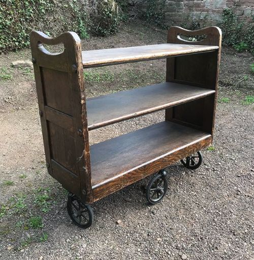 edwardian oak book trolleyremoved from an oxford college library