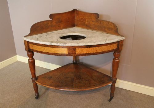 a 19thc oak birds eye maple washstand