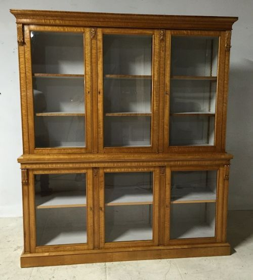 a 19thc birds eye maple six door glazed bookcase