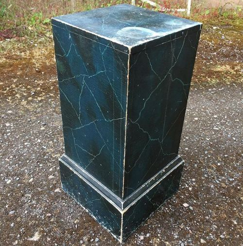 19thc simulated marble pedestal stand