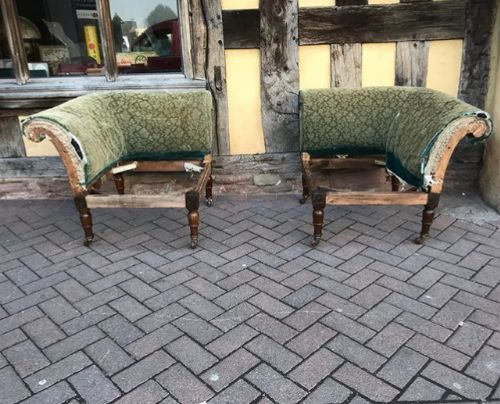 19thc pair of oak corner chairs can be clipped together to form a small sofa