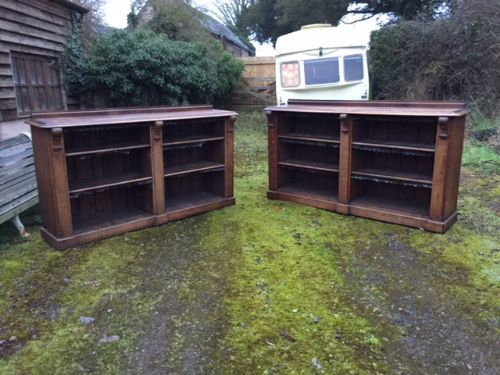 a pair of 19thc oak open bookcases