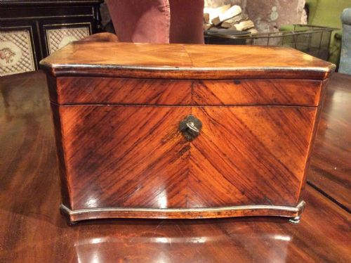 a 19thc kingwood and birds eye maple tea caddy