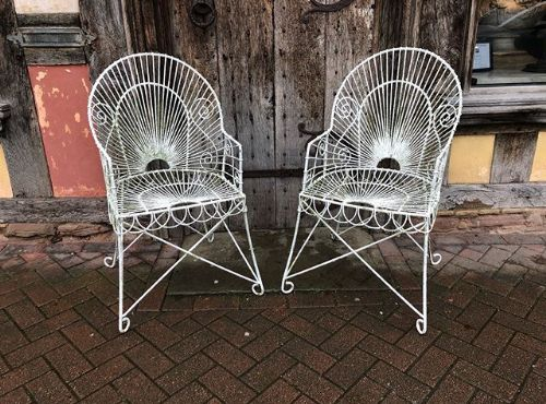 a pair of 19th c wire work garden armchairs
