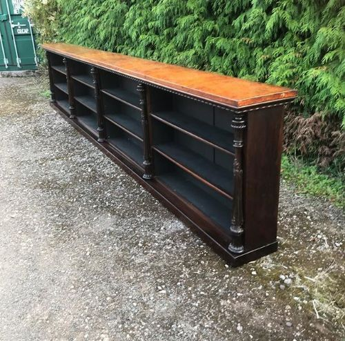 a 19thc large amboyna rosewood dwarf bookcase