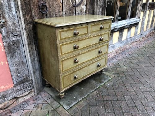 a 19thc painted pine chest of drawers