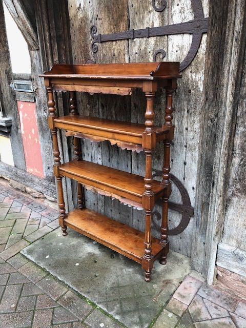 a 19thc set of stained beech open bookshelves
