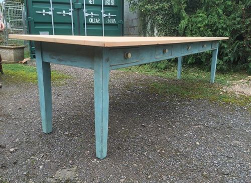 a 19thc scrub top and painted base pine table