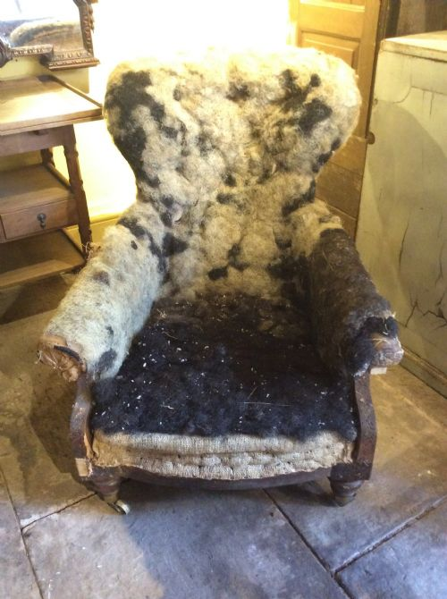 a 19thc rosewood armchair for upholstery attributed to holland sons