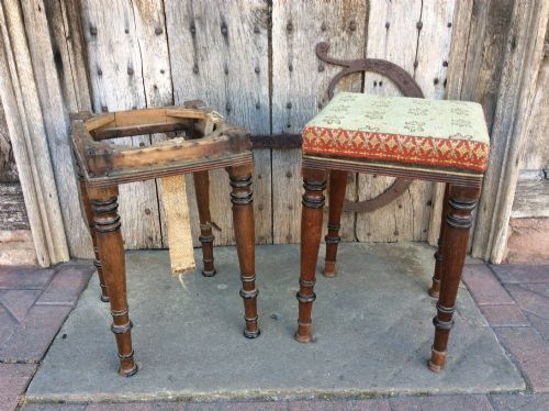 a 19thc pair of mahogany and ebonised stools