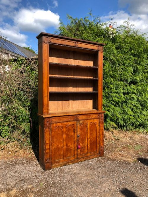 a 19thc gothic oak 2 door open bookcase