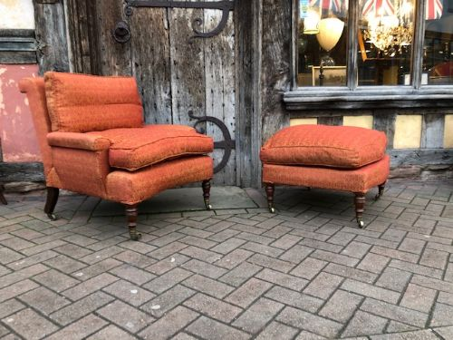a very rare and unusual 19th century combination set of howard and sons armchair and stool