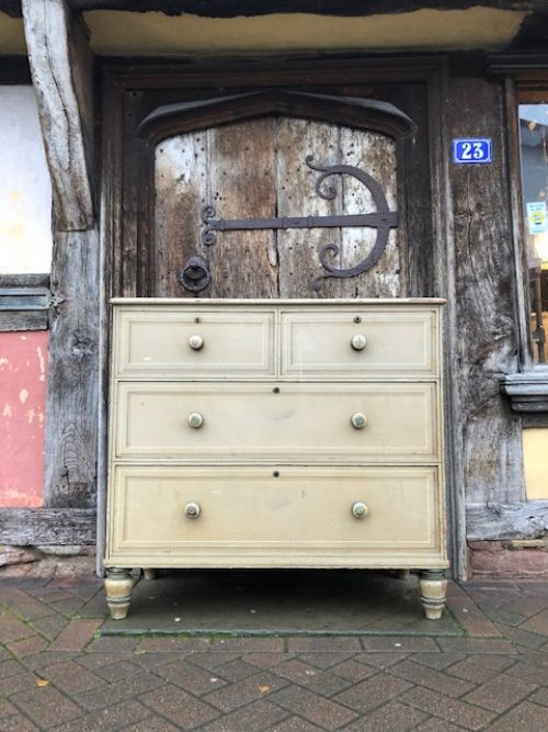 a 19thc decorated pine chest of drawers