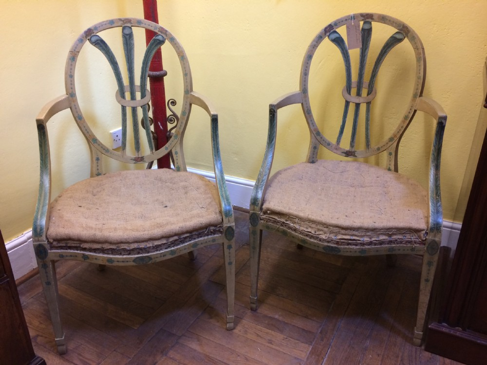 pair of 19th c painted open arm armchairs