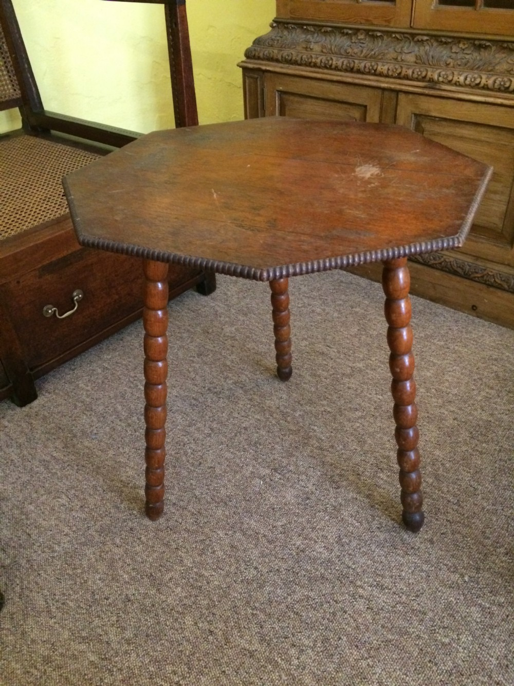19th oak octagonal top bobbin table